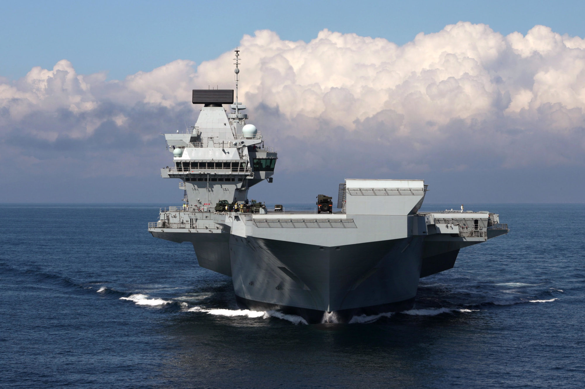 HMS Queen Elizabeth conducts sea trials off the coast of Scotland